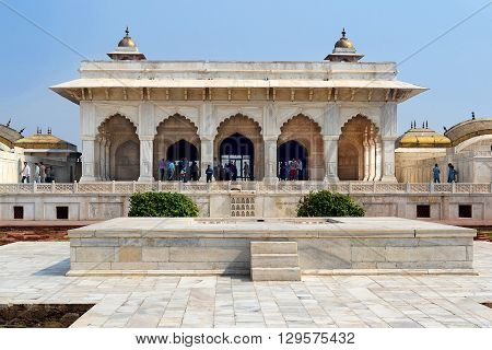 AGRA INDIA - NOVEMBER 1 2015: Khass Mahal Agra Fort. The Agra Fort is a UNESCO World Heritage site located in Agra Uttar Pradesh India.