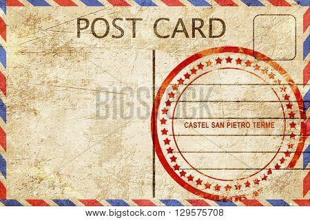 Castel san pietro terme, vintage postcard with a rough rubber st