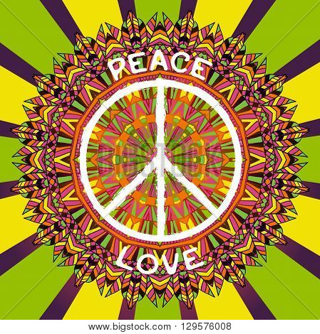 Hippie peace symbol. Peace and love sign on ornate colorful mandala background. Design concept for banner, card, scrap booking, t-shirt, bag, print, poster. Retro hand drawn vector illustration
