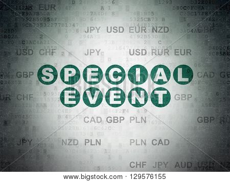 Business concept: Painted green text Special Event on Digital Data Paper background with Currency