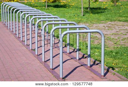 parking space for bicycles outside on spring day