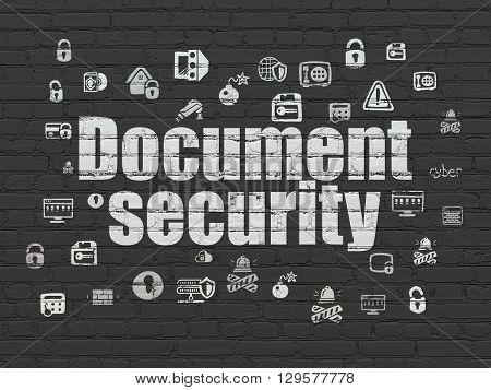 Protection concept: Painted white text Document Security on Black Brick wall background with  Hand Drawn Security Icons