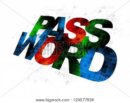 Privacy concept: Pixelated multicolor text Password on Digital background