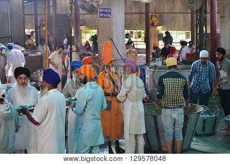 AMRITSAR INDIA - 30 OCTOBER 2015: Community kitchen at the Golden Temple Sri Harmandir Sahib (The Abode of God).