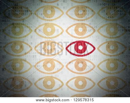 Protection concept: rows of Painted yellow eye icons around red eye icon on Digital Data Paper background