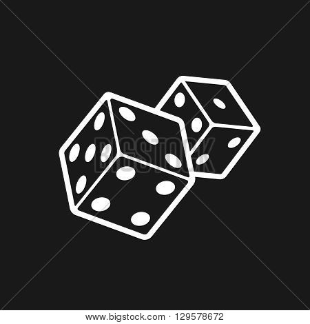Two dices isolated on black background. Dice game logo. Casino games line style vector icon.