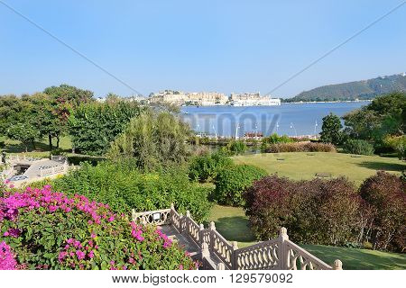 UDAIPUR INDIA - NOVEMBER 4 2015: The Oberoi Udaivilas grounds. The luxury hotel is situated on Lake Pichoola in Udaipur Rajasthan India.