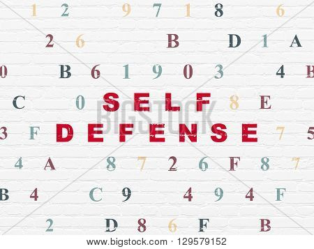 Privacy concept: Painted red text Self Defense on White Brick wall background with Hexadecimal Code