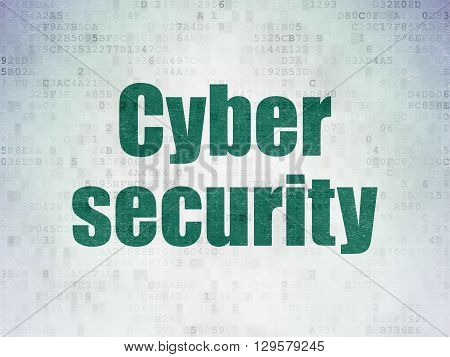Security concept: Painted green word Cyber Security on Digital Data Paper background