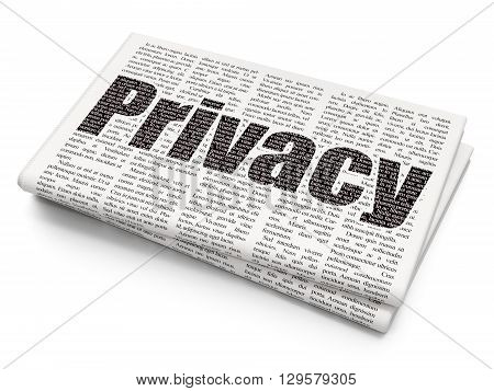 Privacy concept: Pixelated black text Privacy on Newspaper background, 3D rendering