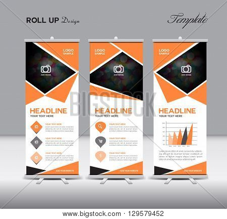 Orange Roll Up Banner template vector illustration polygon background banner design roll up display advertisement