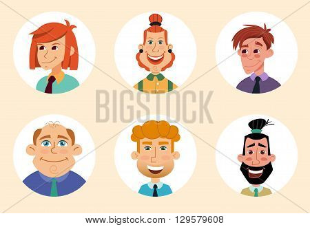 Set of diverse round avatars isolated on white background. Different nationalities, clothes and hair styles. Cute and simple flat cartoon style. Cartoon of a group of business people avatars.
