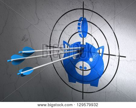 Success money concept: arrows hitting the center of Blue Money Box With Coin target on wall background, 3D rendering
