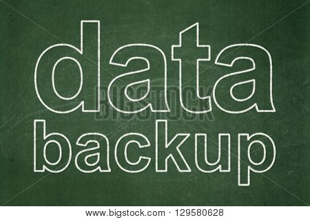 Data concept: text Data Backup on Green chalkboard background