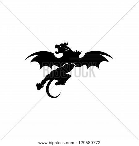 Jersey Devil silhouette tattoo vector illustration isolated on white background.