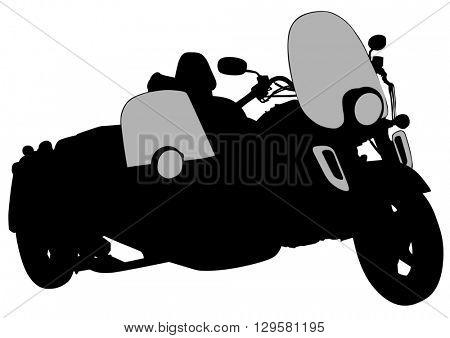 Big old motor bike on white background