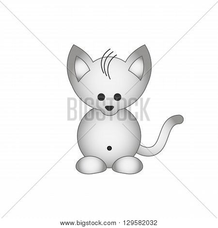 Cute cartoon kitty cat vector illustration isolated on white background.
