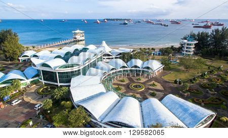 Labuan,Malaysia-Jan 29,2016:Aerial view of Labuan International Sea Sports Complex at Labuan,Malaysia. Its opens to the public in June 2001 when it hosted the yearly Labuan Sea Challenge.