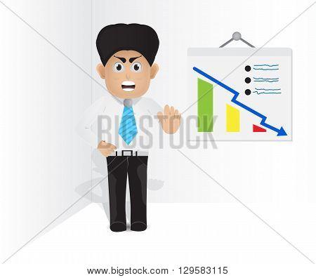 male marketing presentation illustration with statistic board