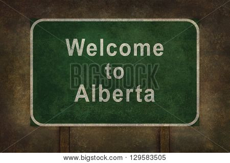 Distressed welcome to Alberta road sign illustration with ominous background