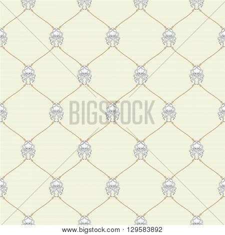 Nautical rope and tied Kraken seamless fishnet pattern on beige background