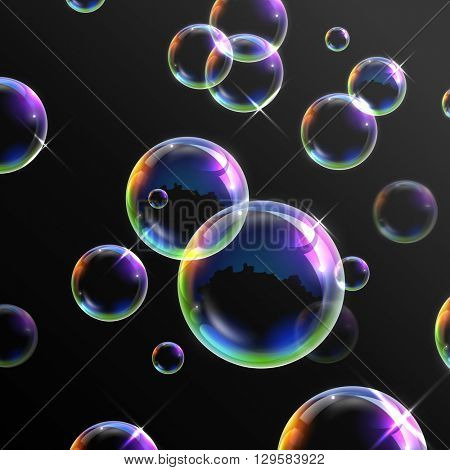 illustration of Realistic transparent soap bubbles