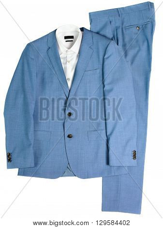 classic men's suit blue, jacket, pants and a shirt on a white background