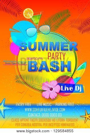 illustration of Summer Party poster design