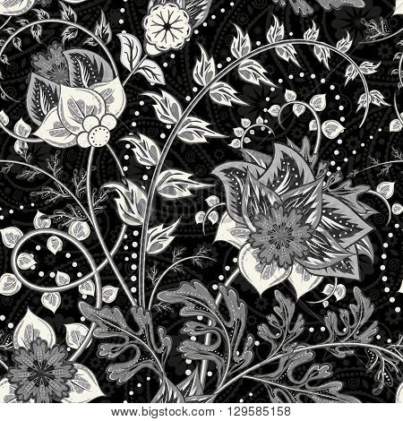 Hand-drawn paisley. Flowers and paisley black white mix. Seamless vector background