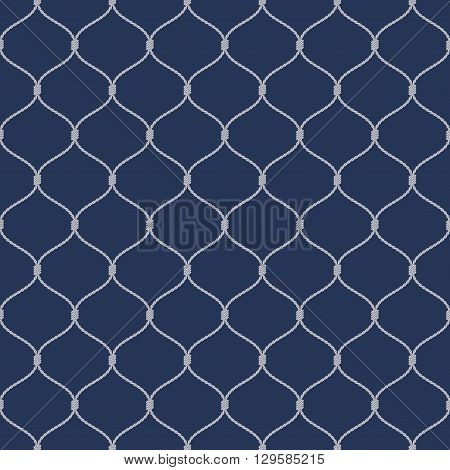 Nautical rope seamless tied fishnet pattern on dark blue background