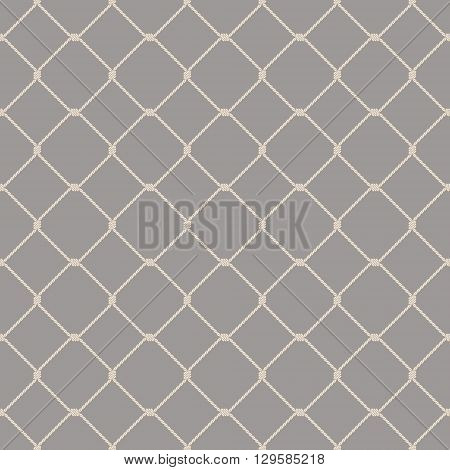 Nautical rope seamless fishnet pattern on gray background
