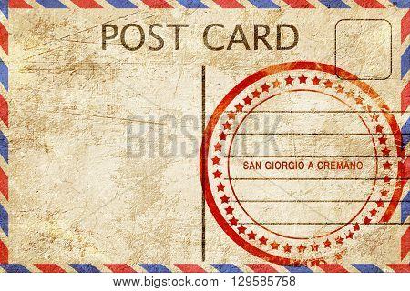 San giorgio a cremano, vintage postcard with a rough rubber stam