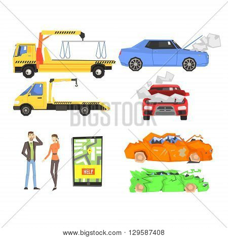 Evacuation of The car After The Crush Infographic Flat Simplified Multicolor Vector Illustration On White Background
