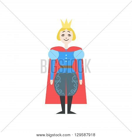 Fairytale Prince Flat Isolated Childish Style Simple Vector Drawing In Bright Colors On White Background