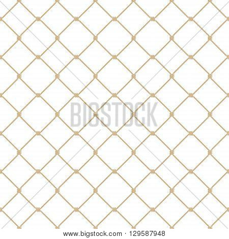 Nautical rope seamless tied gold fishnet pattern on white background