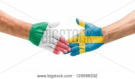 Football Teams - Handshake Between Italy And Sweden