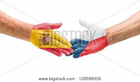 Football Teams - Handshake Between Spain And Czech Republic