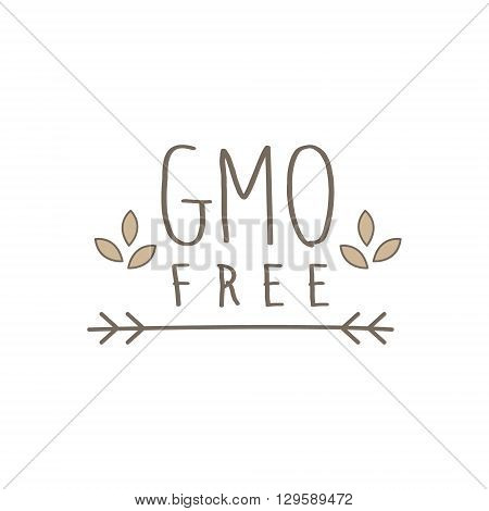GMO Free Product Label Cool Flat Vector Hand Drawn Light Shade Design Template On White Background