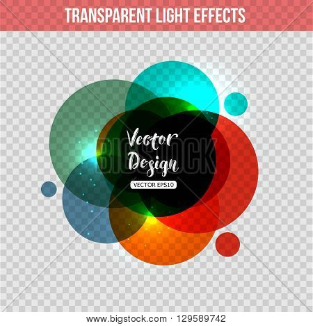 Abstract circle with  glowing effect over transparent background. Vector background with transparent circle.