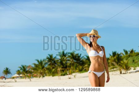 Young Tanned Woman Relaxig At Tropical Caribbean Beach