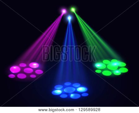Club lights background. Vector spotlights  effect over dark background. Lights effect for disco, party, birthday, club background.