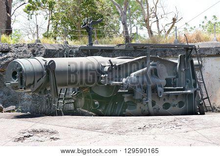 A WWII era cannon on the philippine Island of Corregidor.