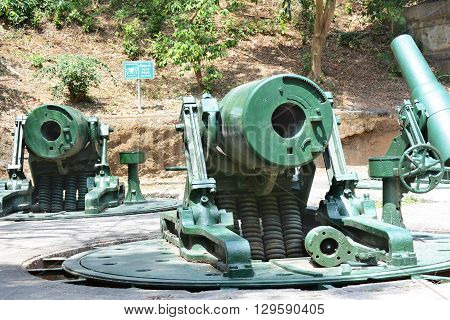 CORREGIDOR PHILIPPINES - APRIL 3 2016: Battery Way Mortars. The 305mm mortars were used to defend the island during WWII.