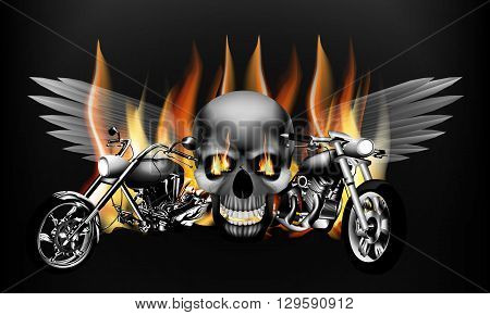 Vector illustration of monochrome fiery motorcycle on the background of a skull with wings. Isolated object can be used with any text or image.
