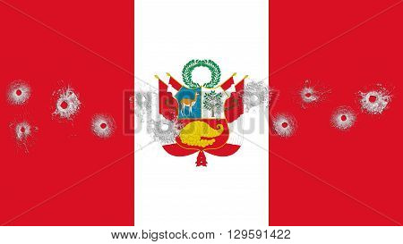 Flag of Peru, Peruvian Flag painted on glass with bullet holes