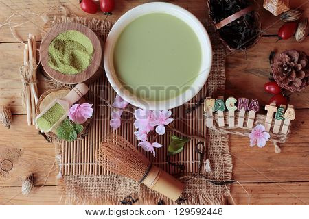 Japanese matcha green tea and green tea powder