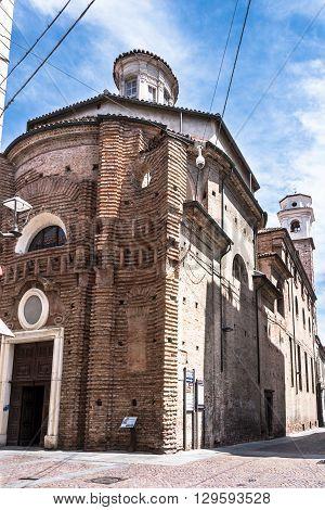 Alba,Italy,Europe - May 3, 2016 : View of the brick facade of Santa Maria Maddalena Church