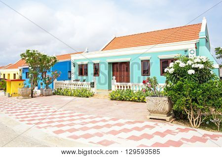 Traditional arubean house on Aruba island in the Caribbean