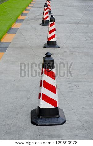 Closeup design of traffic cone red and white colors