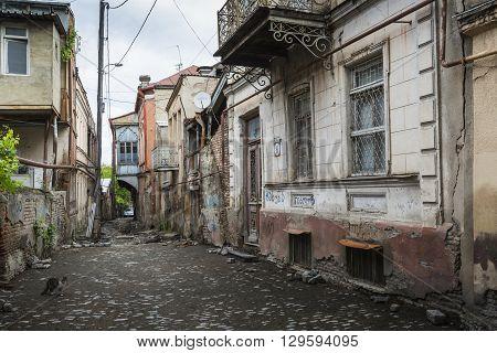 Tbilisi, Georgia - May 07, 2016: Streets Of Old Tbilisi